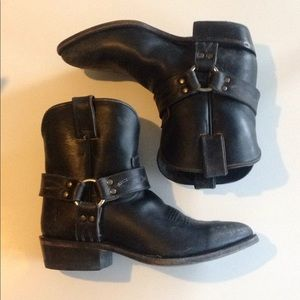 FRYE Black Leather Western Ankle Boots Booties 8 B