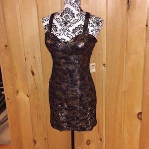 Metallic cross strap mini dress NWT