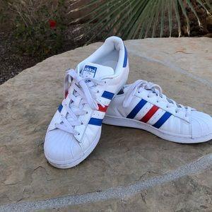 Red, white, & blue Adidas Superstars