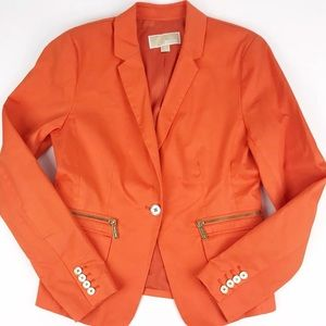 Michael Kors Orange Blazer 10 M Bold Career Jacket