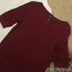 Ann Taylor maroon chain knit scoop sweater top M
