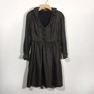 J. Crew silk polka dot long sleeve retro dress