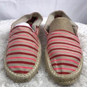 Red & Pink Bnib Slip On Striped Espadrilles