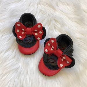 Other - Black Leather Minnie Mouse Fringe Baby Moccasins