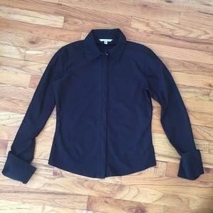 CAbi Black Long Sleeve Zip Up Collared Top