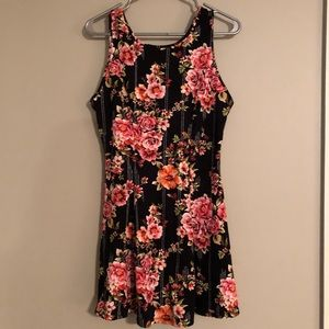 Black and floral mini dress