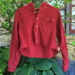 Red cropped button down