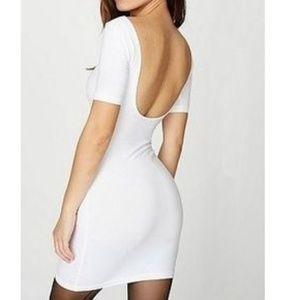 American Apparel White U Back Bodycon Dress S