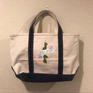 LL Bean 'Hey Y'all' hand painted canvas tote bag