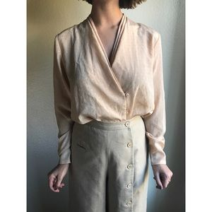 [vintage] asymmetrical long sleeve blouse
