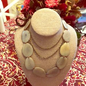 Anthropologie Leather +Shell Statement Necklace