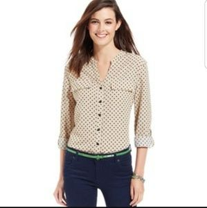 Like New Cream Blouse with Black Polka Dots
