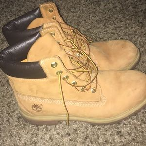 Worn but not terribly worn Timberlands.