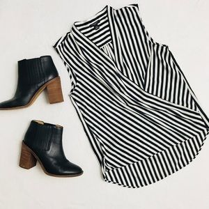 Ann•Taylor Faux Wrap High Low Striped Blouse