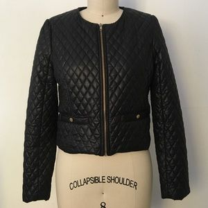 Quilted black puffer jacket
