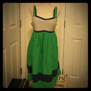 Green, blue and Gray adjustable strap dress.