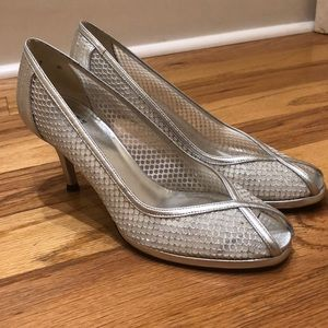 Stuart Weitzman silver peep toe heels