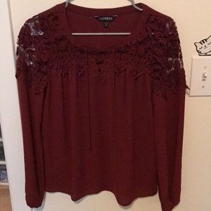Express maroon long sleeve lace blouse xs