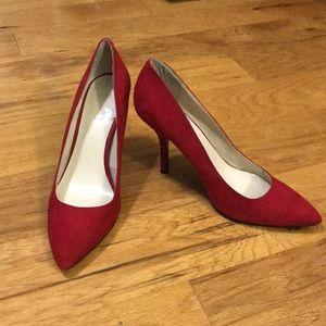 Beautiful Nine West Red Suede Heels
