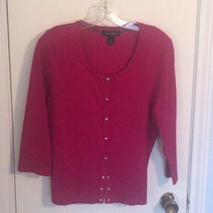 Beautiful hot pink ribbed 3/4 sleeve sweater
