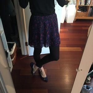 Madewell pleated floral silk chiffon skirt