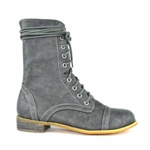 Grey Women's High Top Lace-Up Combat Boot