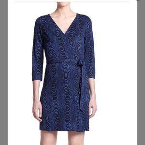 DVF NEW JULIAN TWO GRAIN SHADOW BLUE WRAP DRESS 12