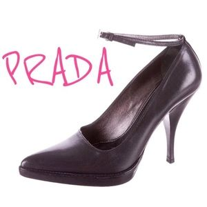 Prada Black Ankle Strap Pointed Toe Pumps- Sz 36.5