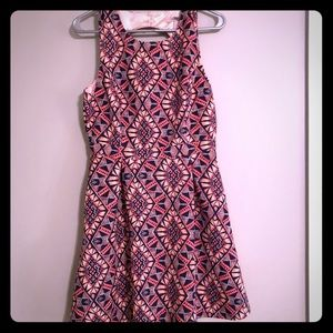 Retro Print Dress in pink & navy