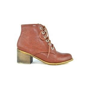 Cognac Women's High Top Stacked Heel Combat Boot