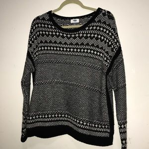 Black & White Loose Fit Knit Sweater