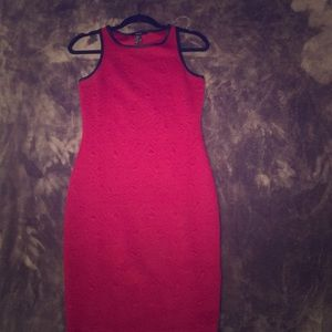 Burgundy Quilted Fitted Dress