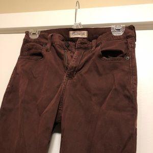 Madewell high rise skinny jeans maroon 27