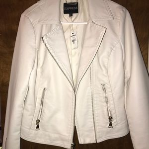 Express creme leather jacket