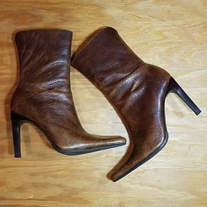Steve Madden brown leather Triall heeled boots