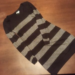 Black with silver strip sweater dress