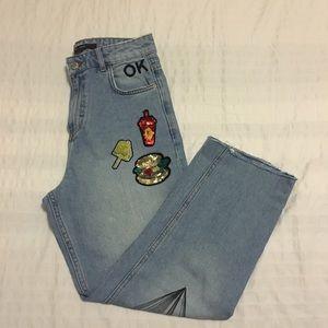 Zara patch jeans