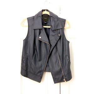 🆕 F21 blue vegan leather moto vest