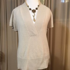 Cream ShortSleeve Sweater by Coldwater Creek SizeL