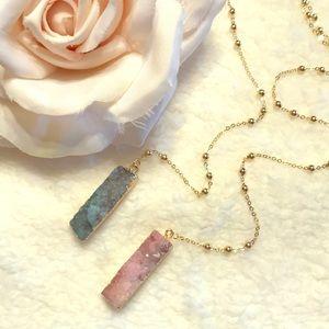 Druzy Agate Long Necklace