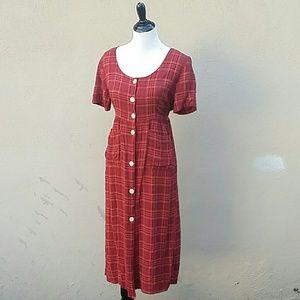 Vintage 90's Red Plaid Dress