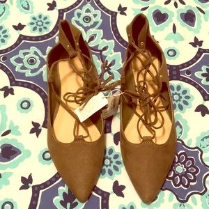 NWT Old Navy lace up ballerinas