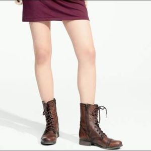 steve madden troopa combat boots brown leather