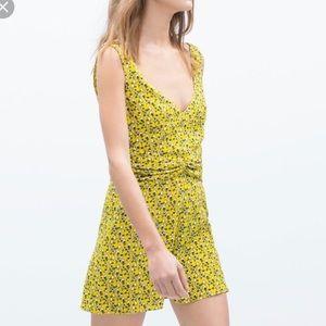 Zara NWT yellow floral romper