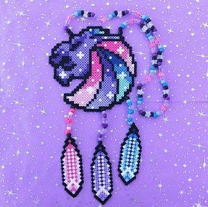 Seven Lions galaxy perler rave kandi necklace