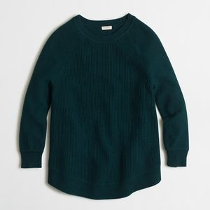 J. Crew Textured curved-hem sweater Green Large