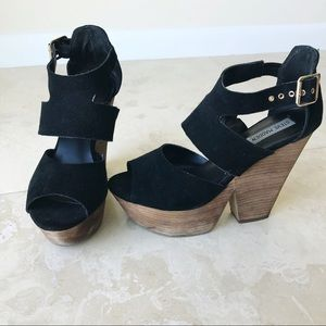 Steve Madden Suede Black Wedge Thick Heels Sandals