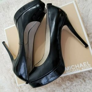 Black Michael Kors Open Toe Pump Heels