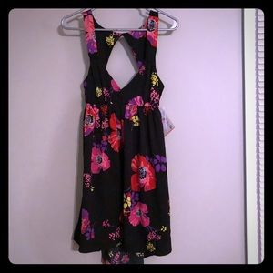 Floral Print Silk Dress with Open Back
