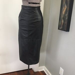 High Waisted Leather Pencil Skirt with Buttons-